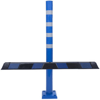 Blue Flexible Disabled Car Park Bollard and Black and Blue Wheel Stop